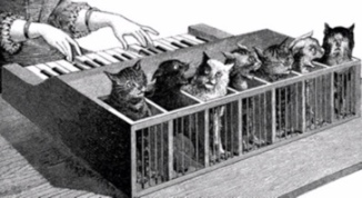 7 cats making Cat piano. 1883 (USPD: pub.date,artist life/Commons.wikimedia.org)
