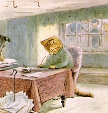 Cat at desk. Tales of GInger and Pickles. Beatrix Potter 1908 (USPD.pub.date, artist life/Gutenberg.org/Commons.wikimedia.org)