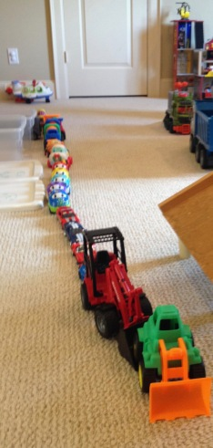 Line of cars, toy cars. ((© image, all rights reserved, copyrighted, no permissions granted)