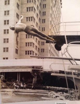 Boy diving into pool. Shamrock Hotel dive team member (tsdhof.org)