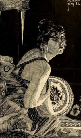 Frightened woman and hand with knife. 1917. THe Dark World Film/Moving Picture World (USPD. pub.date, artist life/Commons.wikimedia.org)