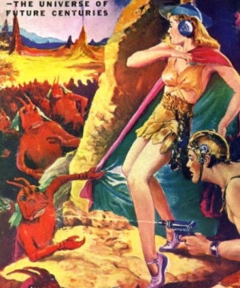 man and woman fighting monsters from center of Earth (Planet Stories, Fall 1944 cover. USPD/pub.date, artist's life/Commons.wikimedia.org)