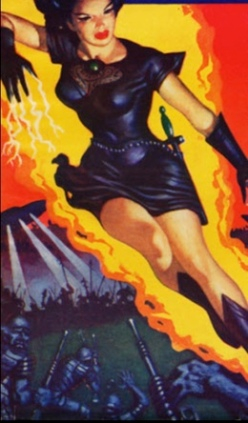 Woman super hero fighting monsters. (Planet Stories cover, March, 1952 (USPD pub.date, artist life(commons.wikimedia.org