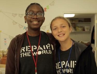 two teenagers. Volunteers for Undies for Everyone (Source: Twitter)
