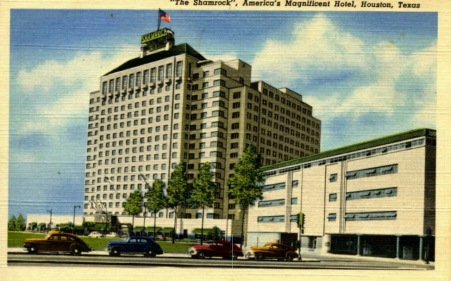 Postcard of Shamrock Hotel/McCarthy Center. cost of 21 million daollars with 1,100 rooms, garage holds 1,000 cars, and the world's largest swimming pool (USPD. Seawall postcard, pub.date, artist life/Commons.wikimedia.org)