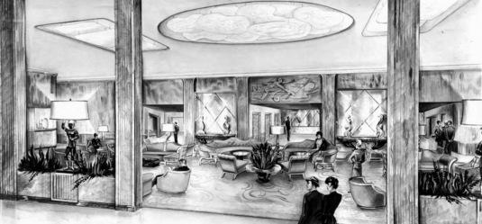 Shamrock Hotel lobby illustration. Dec.1948 (Houston Public Library)