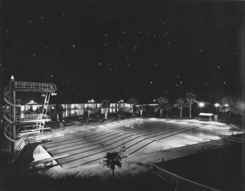 Shamrock swimming pool at night. (tsdhof.org)
