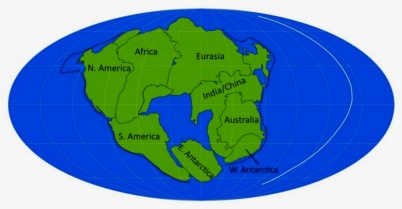 map of possible future Super Continent, Pangea Ultima which is formed by the Atlantic ocean closing up and continents drifting to surround it. (Image: earthsky.org)