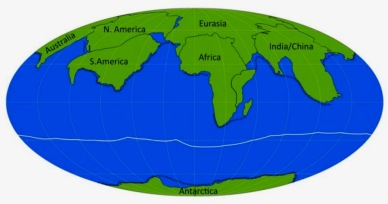 Map or globe showing Amasia the possible Super Continents formed by continental drift (Image: earthSky.org)