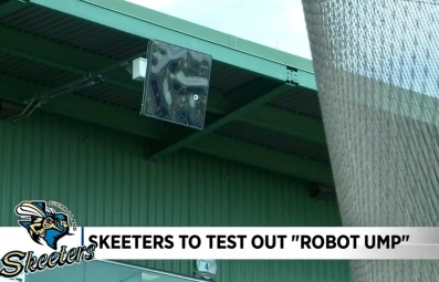 Robot umpire at baseball stadium . Sugar Land Skeeters (screenshot. Click2houston)