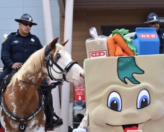 Horse and rider. Smash the HPD horse at kid event at HEB (Screenshot Smash's Facebook HPD timeline)