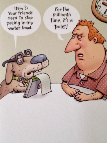 Dog and man talking cartoon (image Shoebox card sent for Birthday)