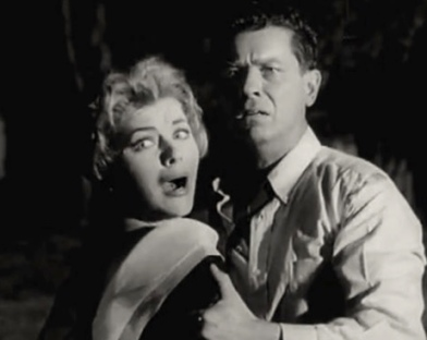 Couple who are terrified. (Joanna Moore and Arthur Franz in Monster on the Campus, 1958/Universal Pict. traIler screenshot (USPD. pub.date, artist life, pub.photo/Commons.wikimedia.org)
