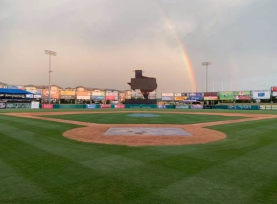 Rainbow over Baseball field. (Image: Screenshot Skeeter's FB page)