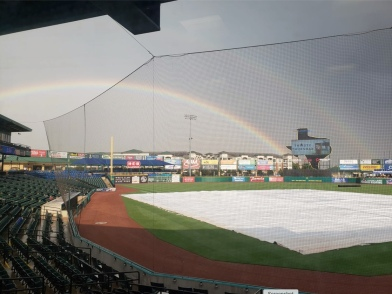 Double rainbow over minor league Skeeter's baseball field (Image: screenshot Skeeter's FB page)
