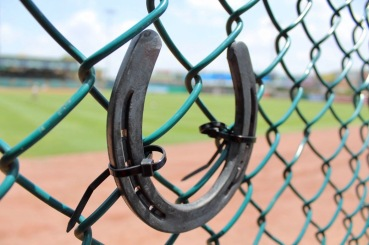Horseshoe on fence at Constellation baseball stadium. (Sugar Land Skeeter's TImeline FB posts)