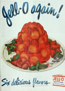 Jello advertisement 1948. Ladies Home Journal.(USPD. pub.date, artist life?commons.wikimedia.org)