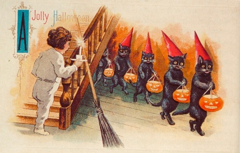 Halloween greeting card with boy going up stairs seeing line of black cats (1900-1916?) (USPD. pub.date, artist life/Commons.wikimedia.org)