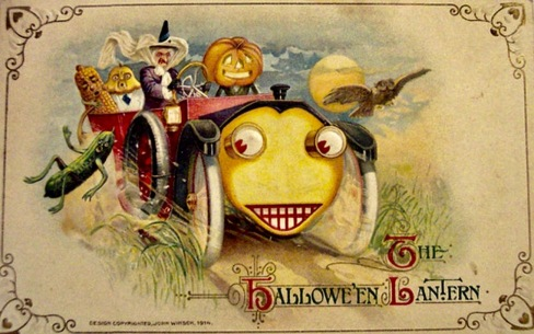 Halloween car. 1914 postcard with fruits and veggetables and a car with a humanoid face ((USPD. pub.date, artist life/Commons.wikimedia.org)