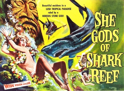 Swimming with sharks. Movie poster, 1958. Reynold Brown (USPD artist life, pub.date/Commons.wikimedia.org)