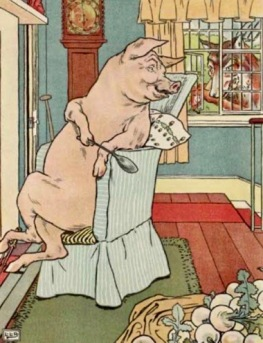 Pig in snug house looking at wolf Leslie Brooke. 1905(USPD. pub.date, artist life/Gutenberg/Commons.wikimedia.org)