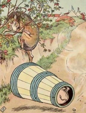 Just roll with it. Wolf rolling pig in barrel down hill. Leslie Brooke. 1905(USPD. pub.date, artist life/Gutenberg/Commons.wikimedia.org)