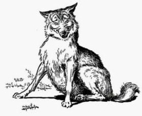 Laughing wolf. Illustration by Leslie Brooke.1905.USPD. pub.date, artist life/Gutenberg/Commons.wikimedia.org)