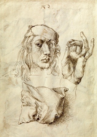 Study by Albrecht Dürer of face, hand, and pillow 1493.(USPD: pub.date, artist life)