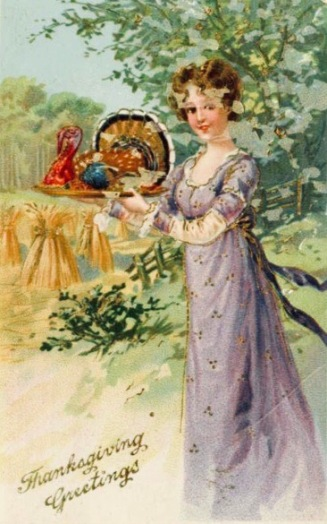 Woman holding turkey on platter. Thanksgiving card. (!890's-1900) (USPD. pub.date, artist life/Commons.wikimedia.org)