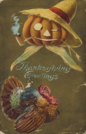 Thanksgiving greetings with Jack-o-Lantern in straw hat with turkey. (Newberry Library/USPD.pub.date, artists life/Commons.wikimedia.org)
