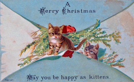 Kitten's Christmas wishes. (Victorian card/ NovaScotia Archives/USPD.pub.date, artist life/COmmons.wikimedia.org)