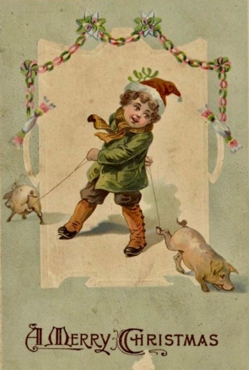 Boy leading to pigs on Christmas card. State LIbrary of Queensland/USPD. pub.date, artist life/Commons.wikimedia.org)