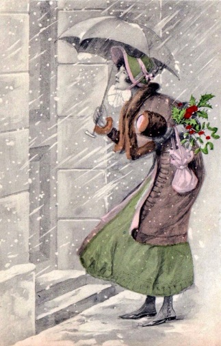 Victorian Woman at door for Christmas visit. 1910. (USPD. artist life, pub. date/Commons.wikimedia.org)