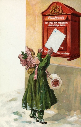 Victorian Christmas card of young girl mailing card at mail boz ( Jenny Nystrom 1854-1946) Nat.Lib.of Norway/USPD.artist life, pub.date/Commons.wikimedia.org)