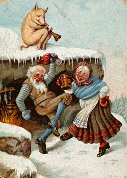 MAn and woman dancing while pig watches on Christmas card by Wilhelm Larsen (1854-1893) Nat.Lib. of Norway/USPD. pub.date, artist life/Commons.wikimedia.org)