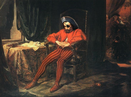 One-eyed pirate sitting at tabkle. 1862 painting by Matejko. Pirate Stanczyk (USPD pub.date, artist life/Commons.wikimedia.org)