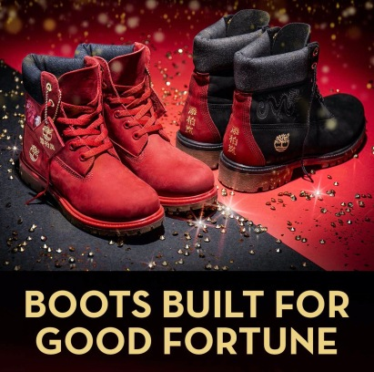 Two pairs of boots embellished with Chinese New Years design (Image: Timberland)