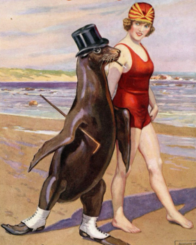 Beach with seal and woman in swimsuit strolling. 1924.Silver Sheet/Galloping Fish (USPD. pub.date, artist life/Commons.wikimedia.org)