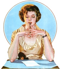 Woman at desk. 1920 Sheaffer fountain pen ads by Coles Phillips (USPD. artist life, pub.date/commons.wikimedia.org)