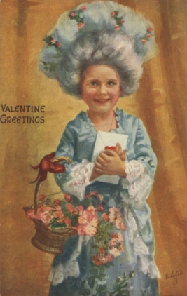 Vintage Valentines postcard of girl holding basket of flowers and a letter. Newberry/Lauder collection of raphael Tuck and Sons postcards (USPD.pub.date, artist life/Commoins.wikimedia.org)
