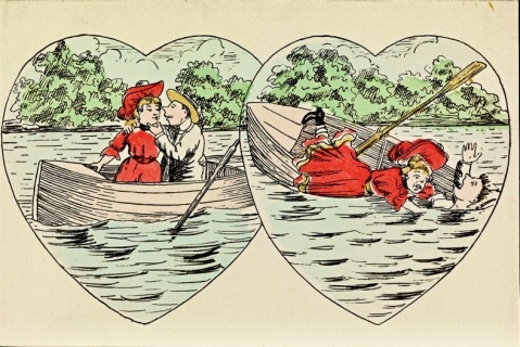 Valentine postcard with couple in boat. Nat.Lib.of Norway (USPD. pub.date, artist life, released/Commons.wikimedia.org)