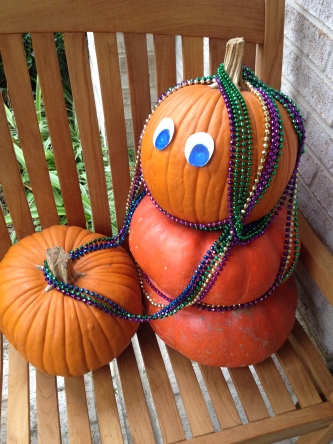 Pumpkins dressed for Mardi Gras in beads. (© image copyrighted, all rights reserved, no permissions granted)