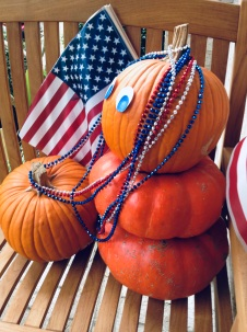 Two patriotic pumpkins on Presidents' Day (© image copyrighted, all rights reserved, No permissions granted)