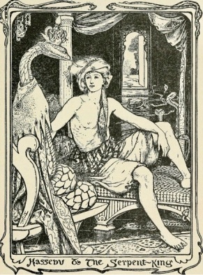 Snake and man. 1906 The Violet Fairy Tale Book by Lang (USPD.pub.date, artist life/Commons.wikimedia.org)