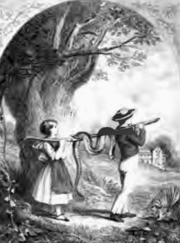 Boy and girl carrying snake home. Willie and Nanny Carry Home the Black Snake. 1848. Our Cousins in Ohio. (USPD. pub.date, artist life/Commons.wikimedia.org)