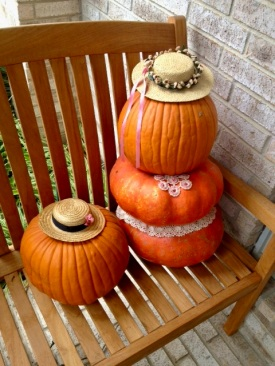 Two Pumpkins dressed for Spring (© image copyrighted, all rights reserved, no permissions granted)