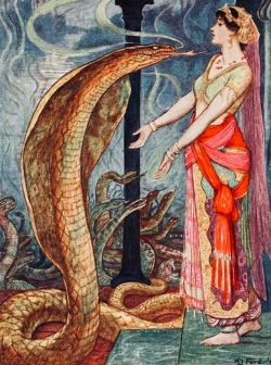 Snakes and Queen making request. 1907 The Olive Fairy Tale Book by Lang. (USPD. pub.date, artist life/Commons.wikimedia.org)
