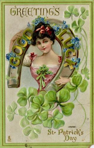 Vintage Postcard St. Patrick's Day. 1916. Woman holding horseshoe. Toronto Public LIbrary (USPD. pub.date, artist life/Commons.wikimedia.org)