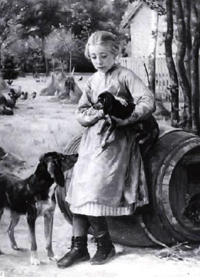 Girl and dog. (USPD. pub.date, artists life, reprod of PD art)