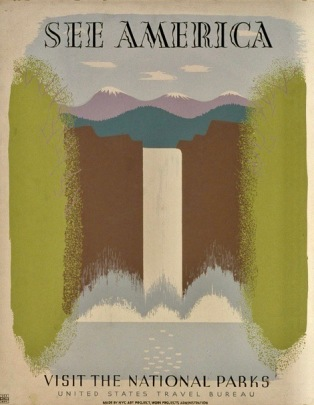 Waterfall WPA Travel poster, 1940. LoC (USPD gov. agency, artist life, pub.date/Commons.wikimedia.org)